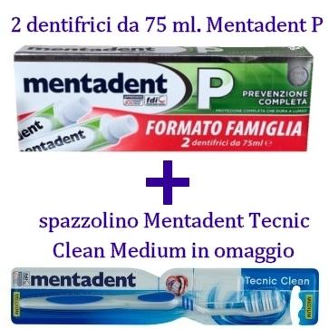 dentifricio mentadent p  spazzolino tecnic medium