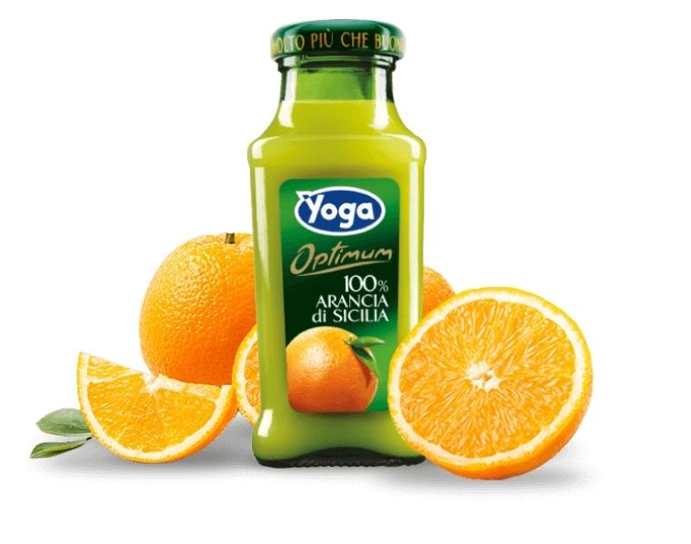 4 bottiglie Succhi Yoga Optimum 100 Arancia di Si