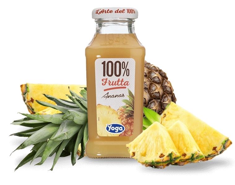 4 bottiglie Succhi Yoga 100 Frutta Ananas