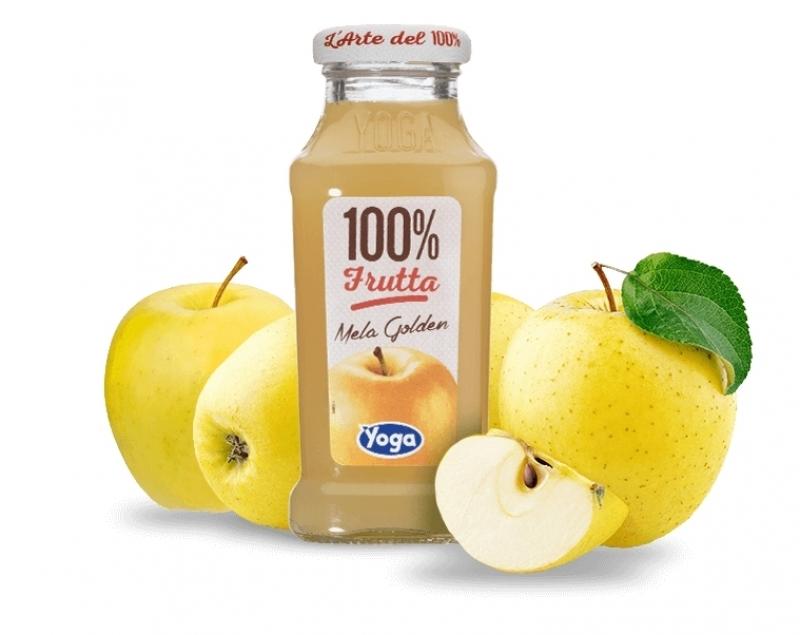 4 bottiglie Succhi Yoga 100 Frutta Mela Golden
