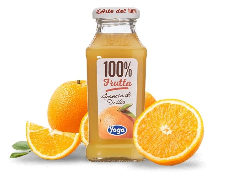 4 bottiglie Succhi Yoga 100 Frutta Arancia