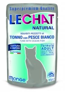 Lechat Natural 80 gr tonno con pesce bianco