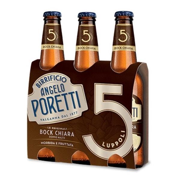 3 bottiglie 33 cl 5 luppoli Bock chiara Angelo Po